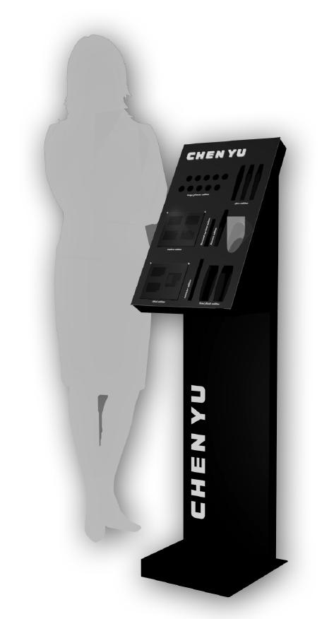 Expositor con pie y soporte superior metálico.